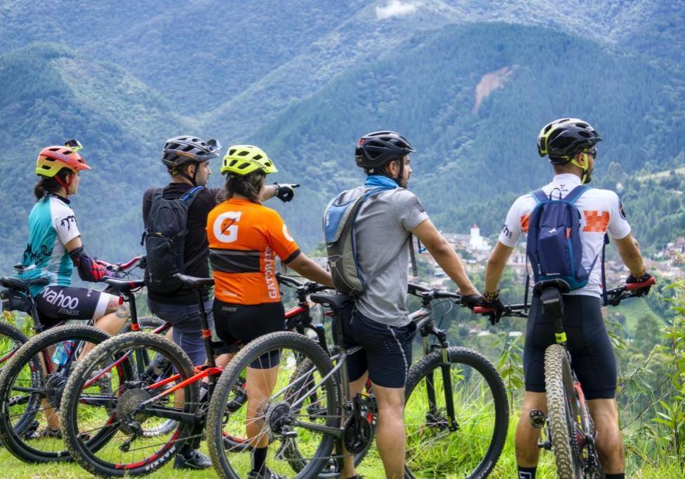 Mountainbiker schauen in die Landschaft